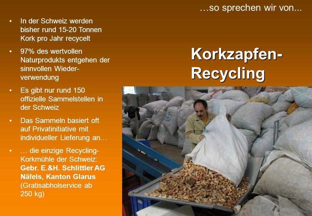 Korkzapfen- Recycling