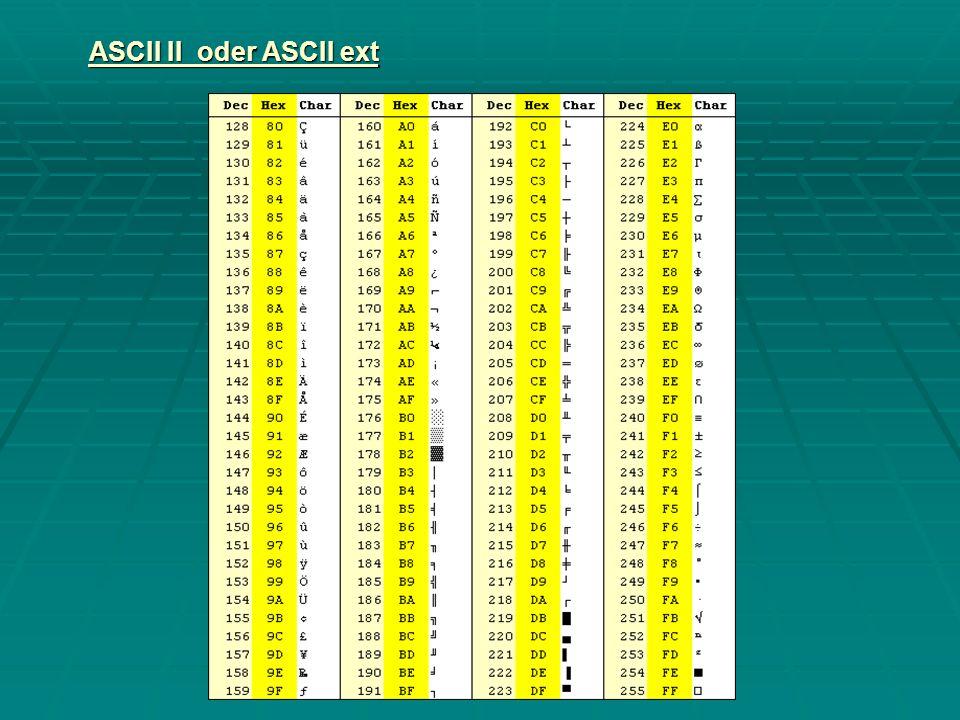 ASCII II oder ASCII ext