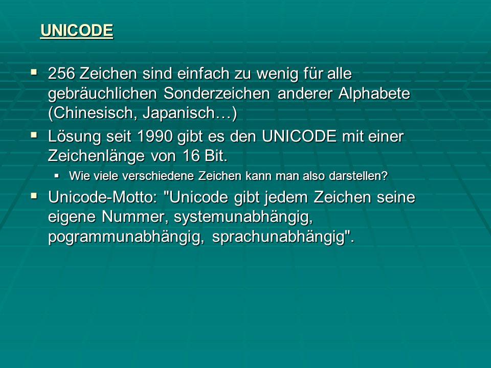 UNICODE 256 Zeichen sind einfach zu wenig für alle gebräuchlichen Sonderzeichen anderer Alphabete (Chinesisch, Japanisch…)