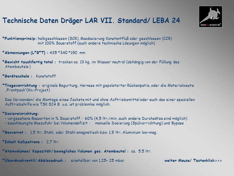 Technische Daten Dräger LAR VII. Standard/ LEBA 24