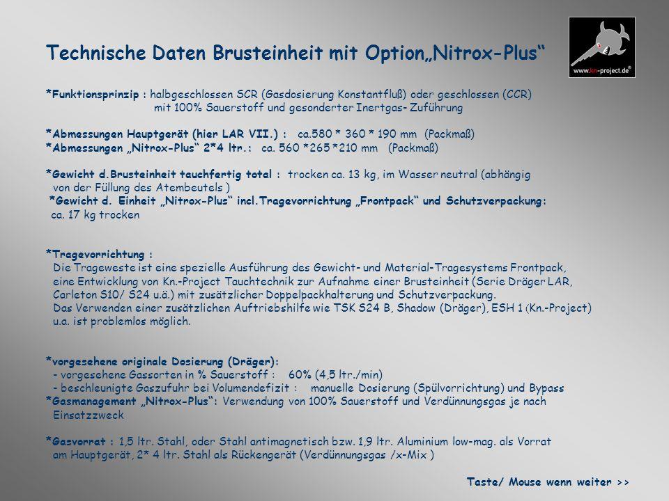 """Technische Daten Brusteinheit mit Option""""Nitrox-Plus"""