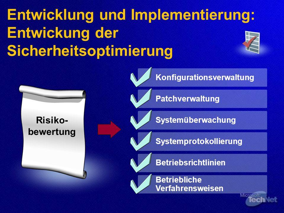 Entwicklung und Implementierung: Entwickung der Sicherheitsoptimierung