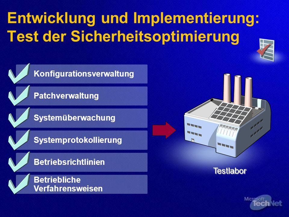 Entwicklung und Implementierung: Test der Sicherheitsoptimierung