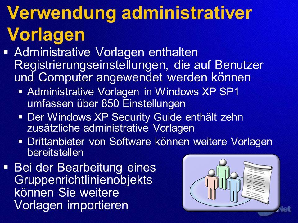 Verwendung administrativer Vorlagen