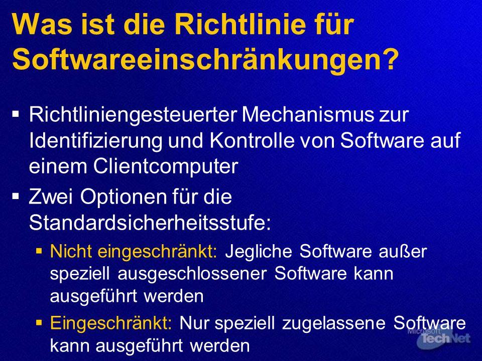 Was ist die Richtlinie für Softwareeinschränkungen