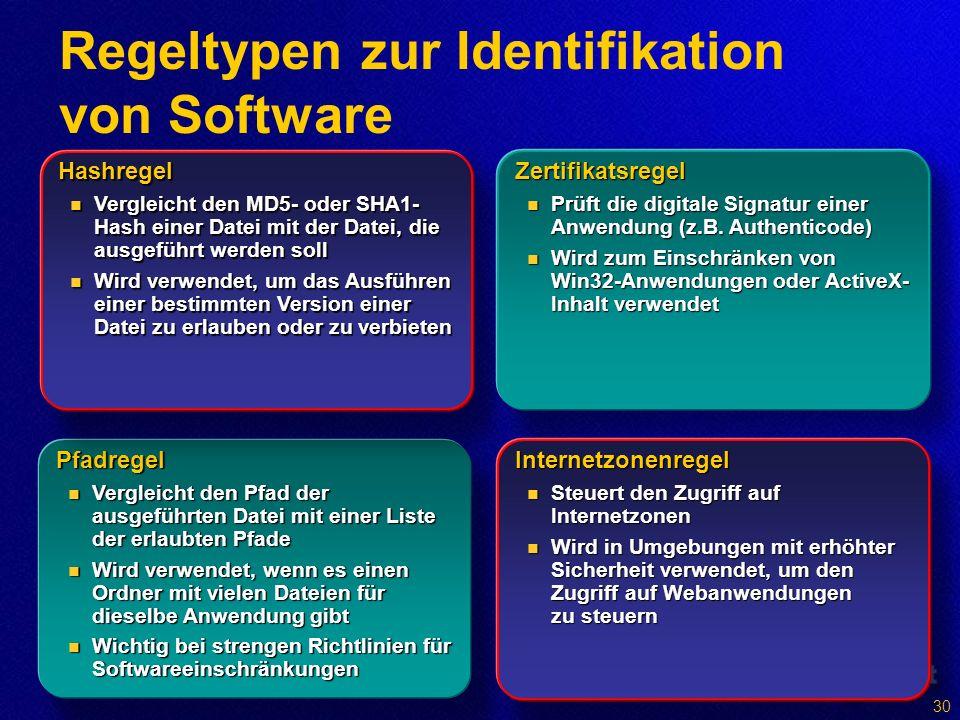 Regeltypen zur Identifikation von Software