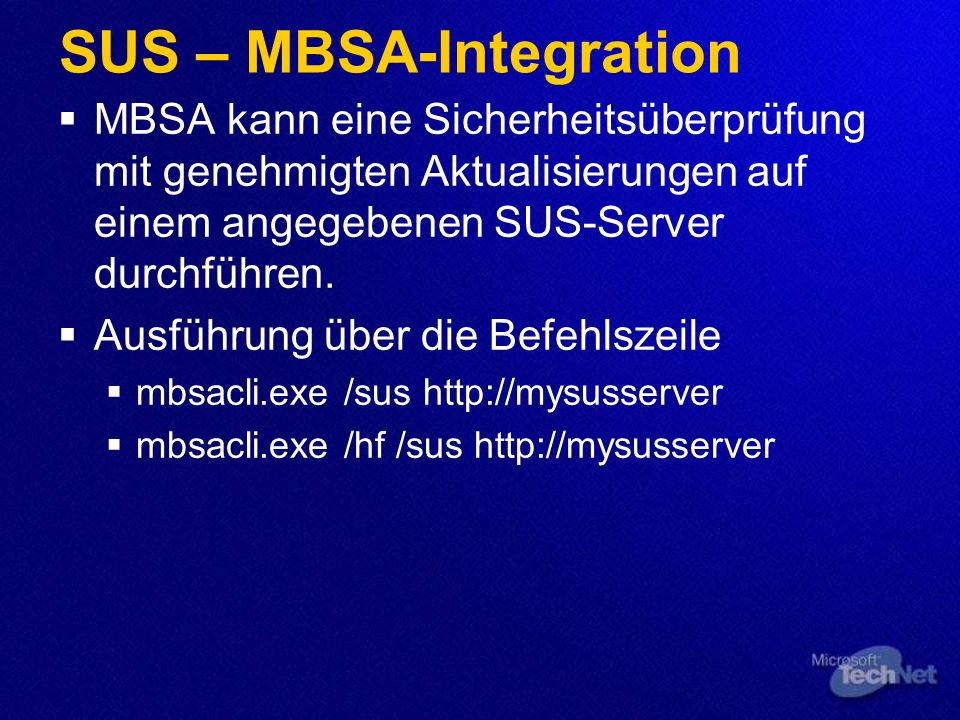 SUS – MBSA-Integration