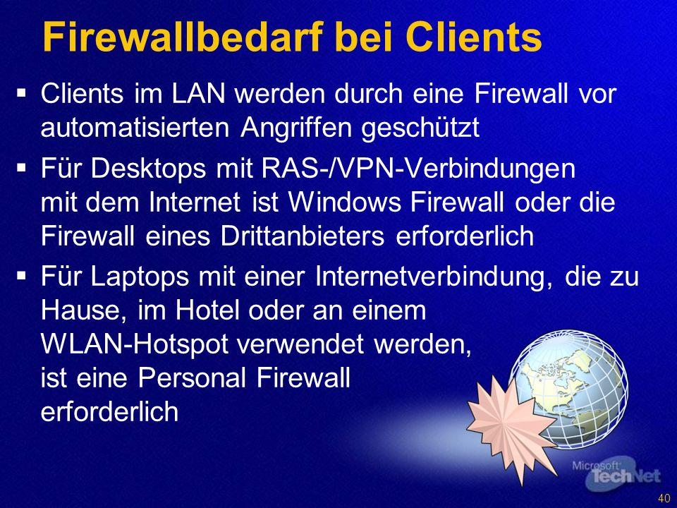 Firewallbedarf bei Clients