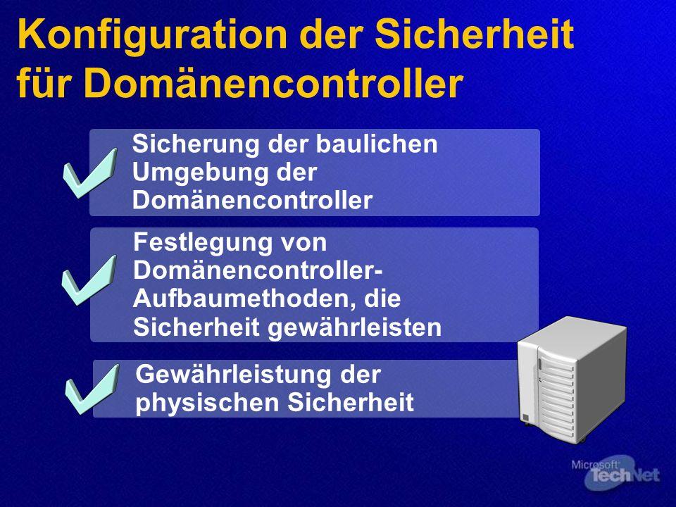 Konfiguration der Sicherheit für Domänencontroller