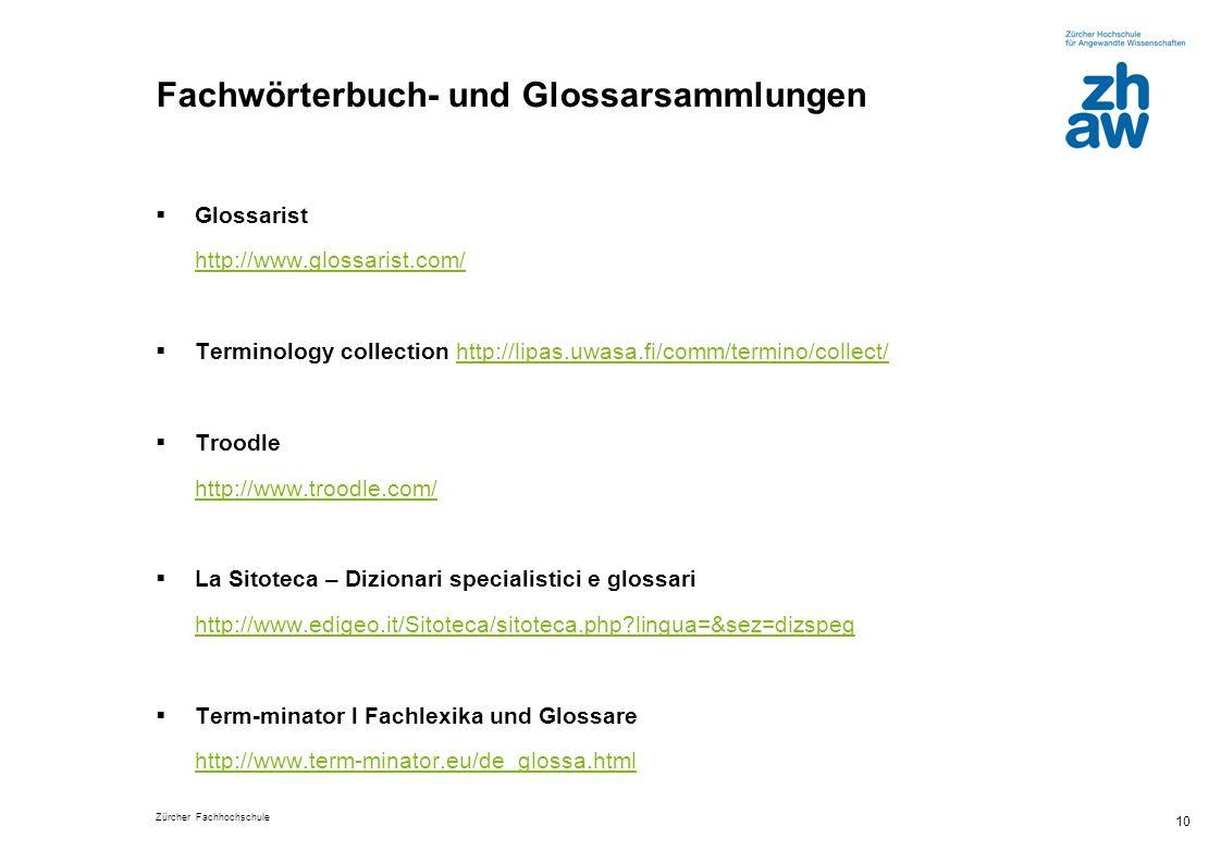Fachwörterbuch- und Glossarsammlungen