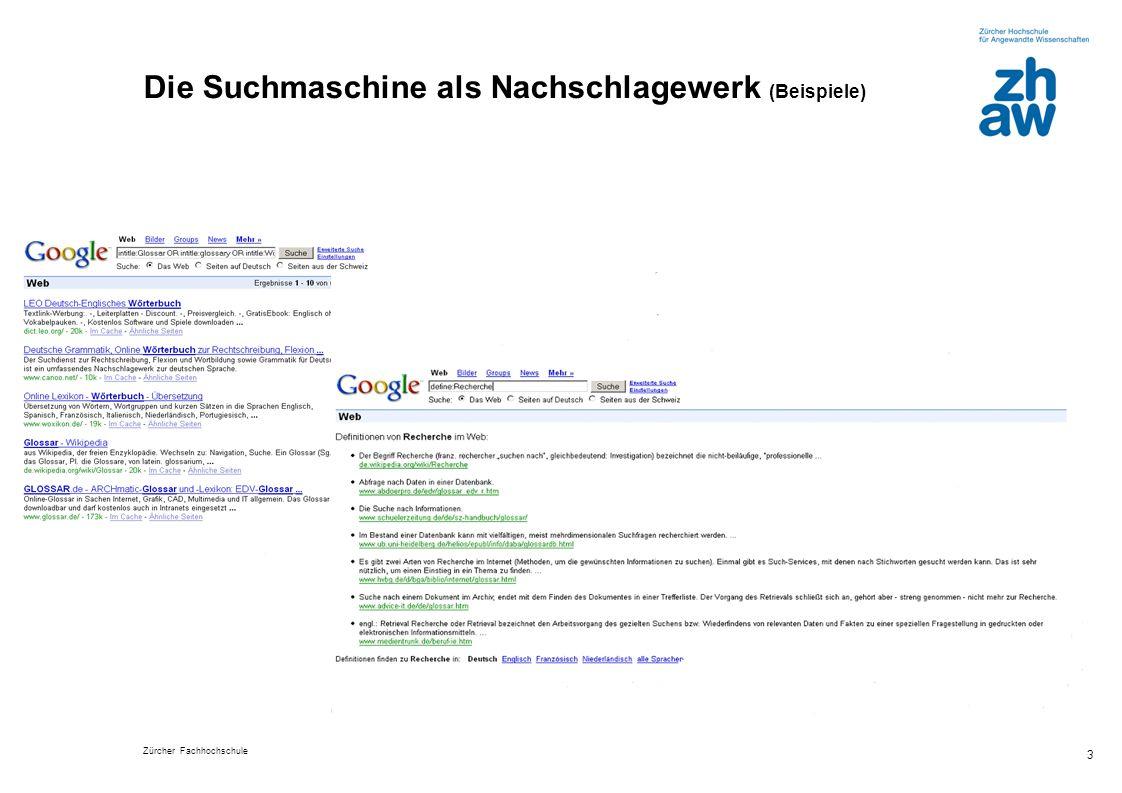 Die Suchmaschine als Nachschlagewerk (Beispiele)