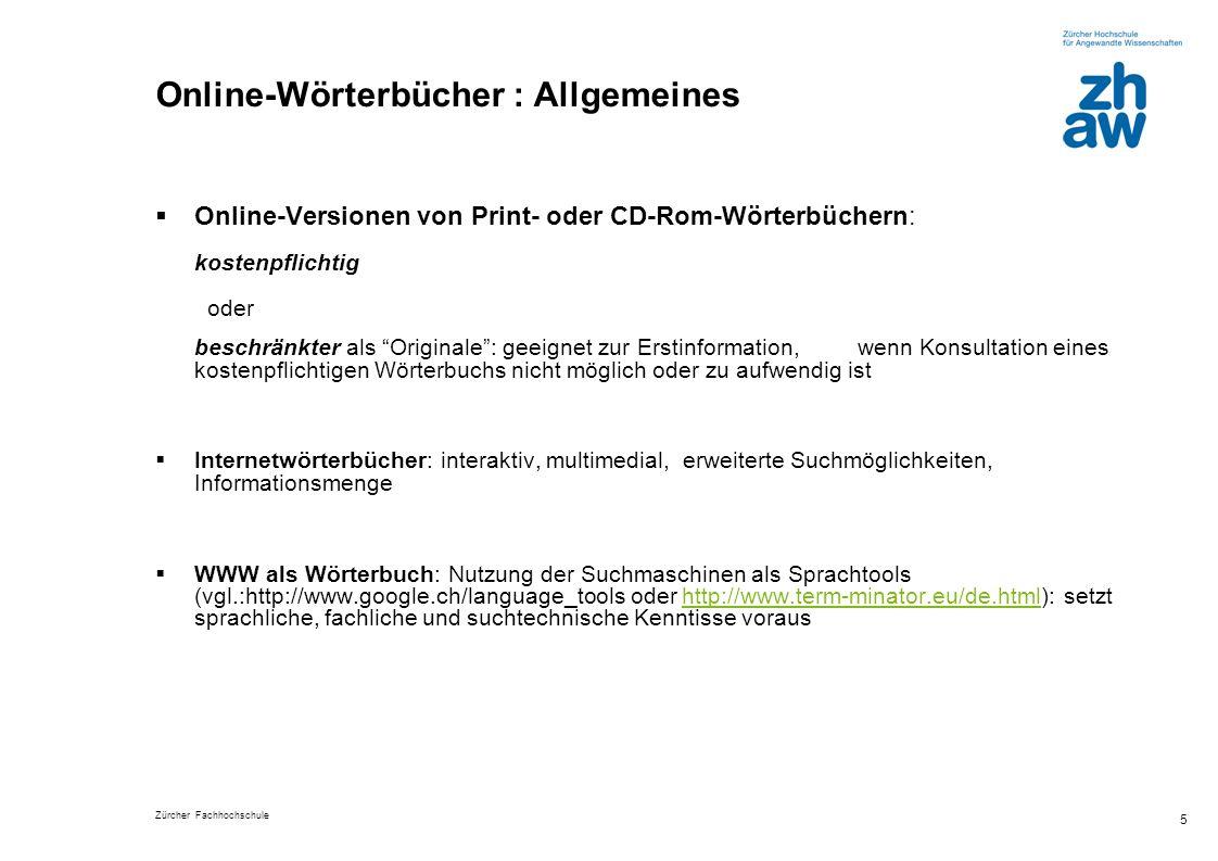 Online-Wörterbücher : Allgemeines