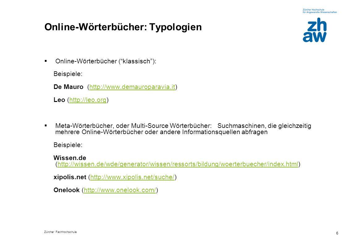 Online-Wörterbücher: Typologien