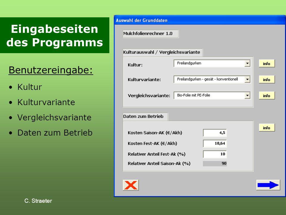 Eingabeseiten des Programms