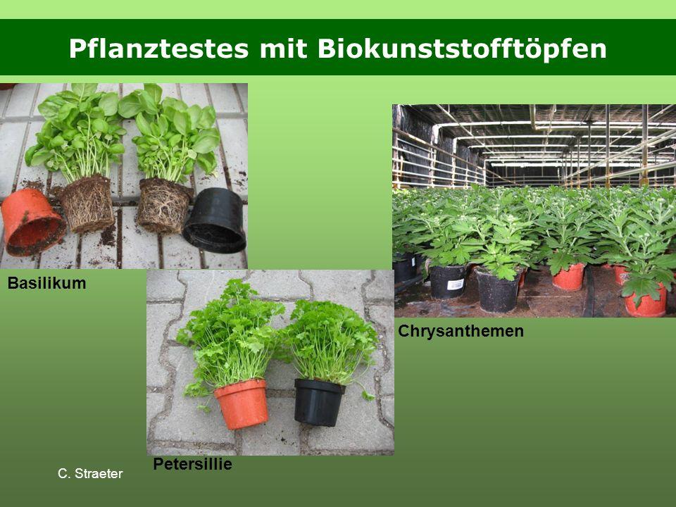 Pflanztestes mit Biokunststofftöpfen