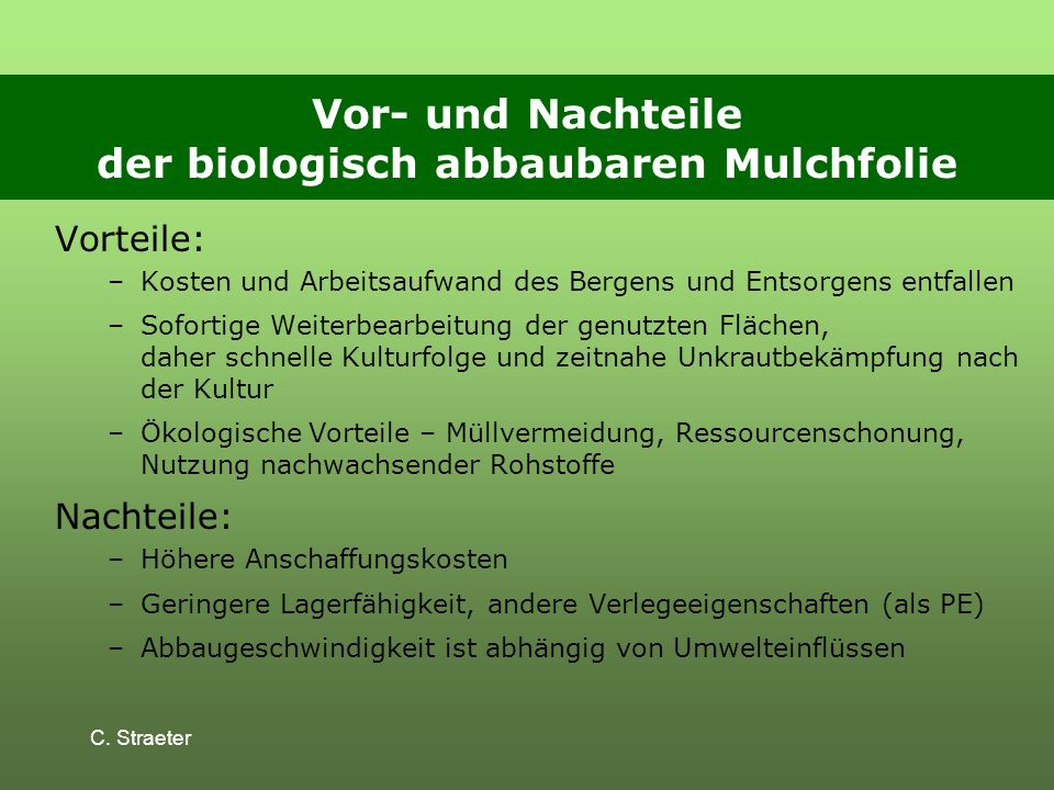 Vor- und Nachteile der biologisch abbaubaren Mulchfolie