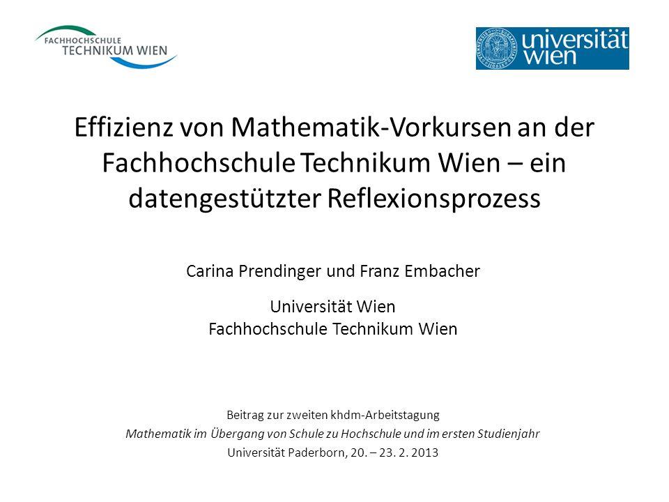 Effizienz von Mathematik-Vorkursen an der Fachhochschule Technikum Wien – ein datengestützter Reflexionsprozess