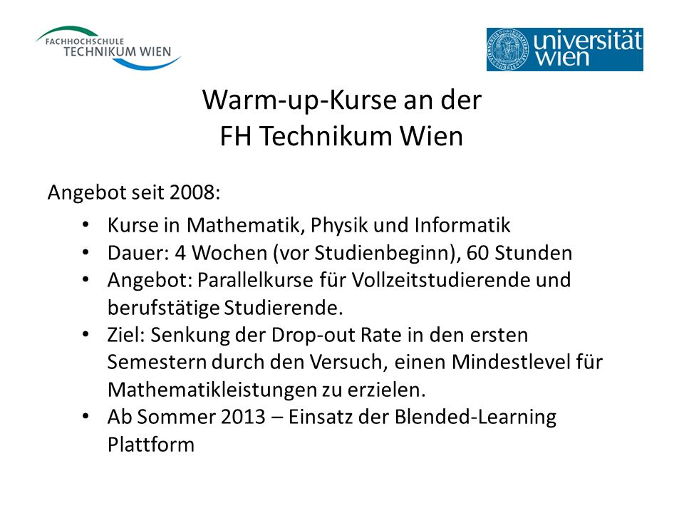 Warm-up-Kurse an der FH Technikum Wien