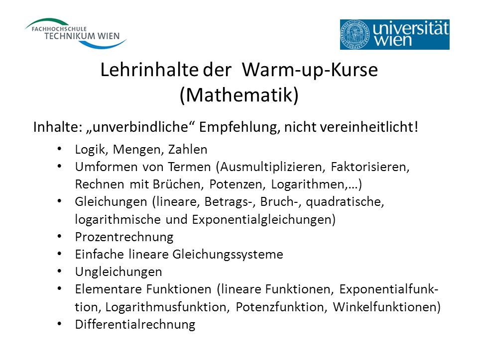 Lehrinhalte der Warm-up-Kurse (Mathematik)