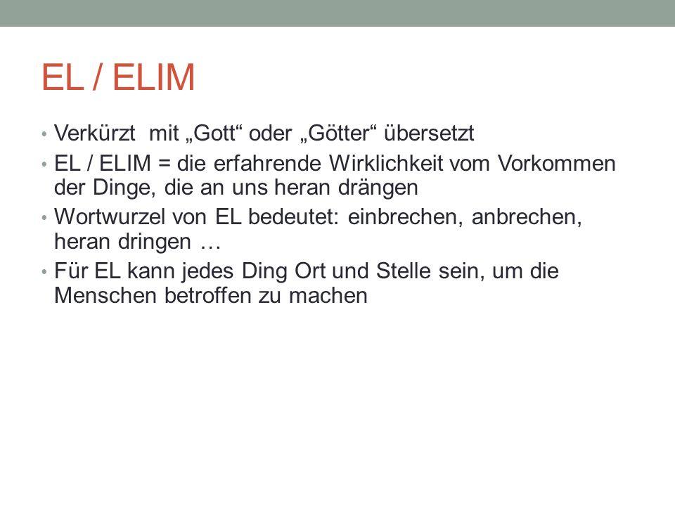 """EL / ELIM Verkürzt mit """"Gott oder """"Götter übersetzt"""