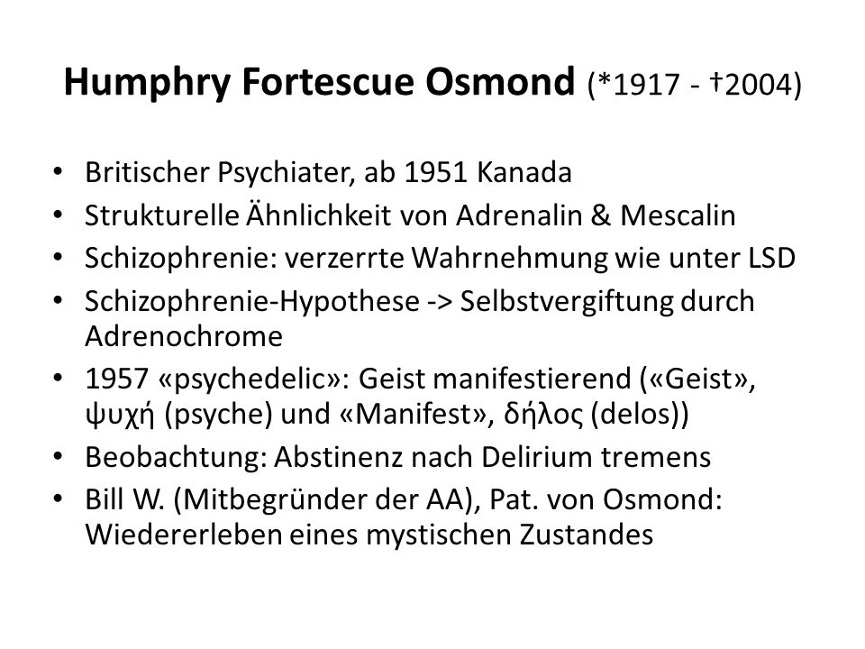 Humphry Fortescue Osmond (*1917 - †2004)