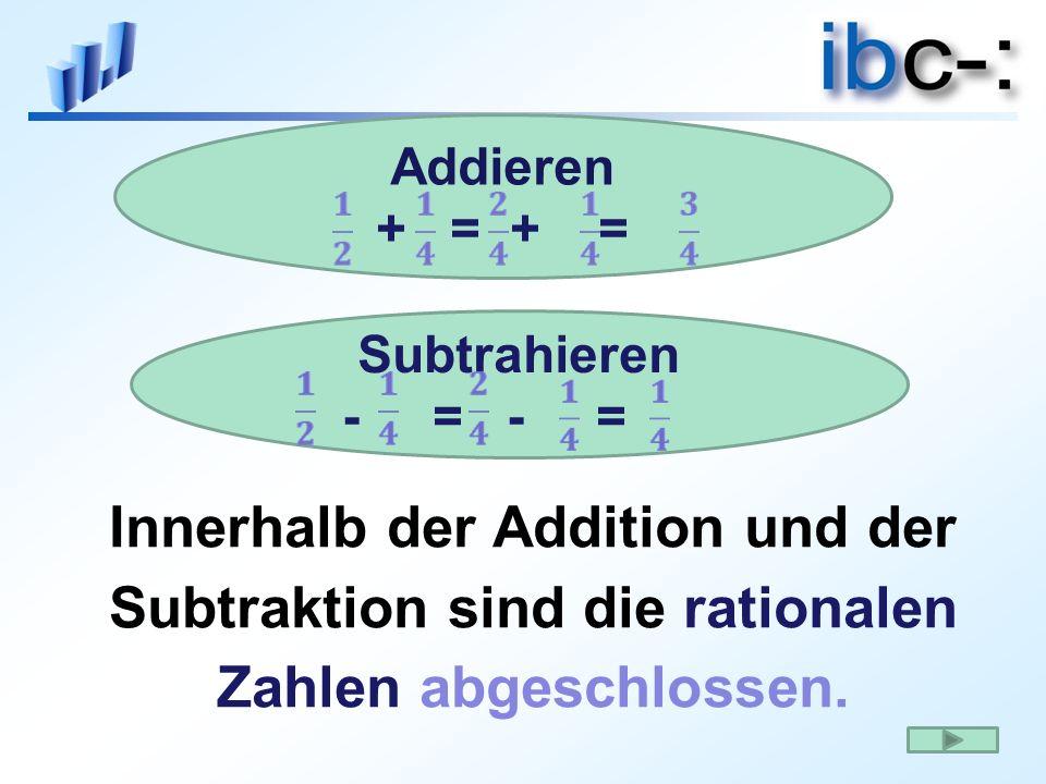 Addieren + = + = Innerhalb der Addition und der Subtraktion sind die rationalen Zahlen abgeschlossen.
