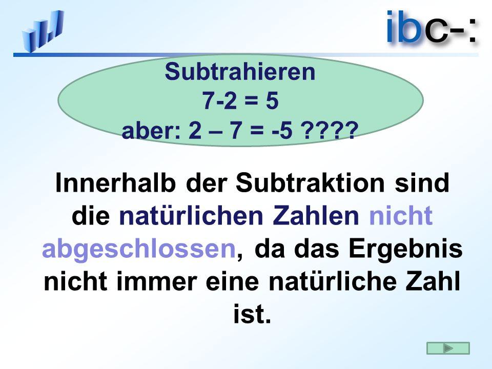Subtrahieren 7-2 = 5. aber: 2 – 7 = -5