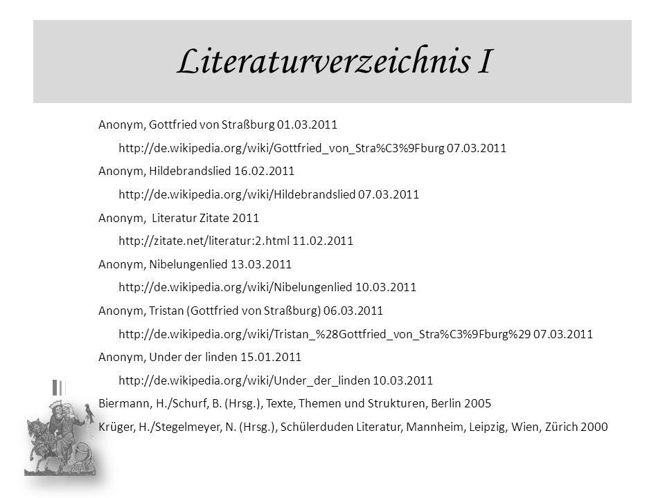 Literaturverzeichnis I