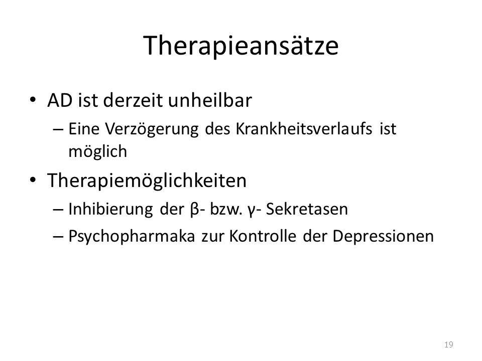 Therapieansätze AD ist derzeit unheilbar Therapiemöglichkeiten