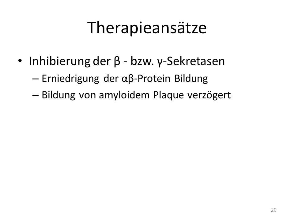 Therapieansätze Inhibierung der β - bzw. γ-Sekretasen