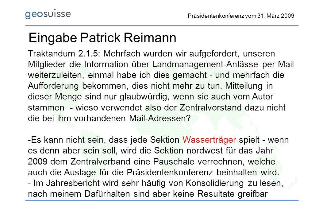 Eingabe Patrick Reimann