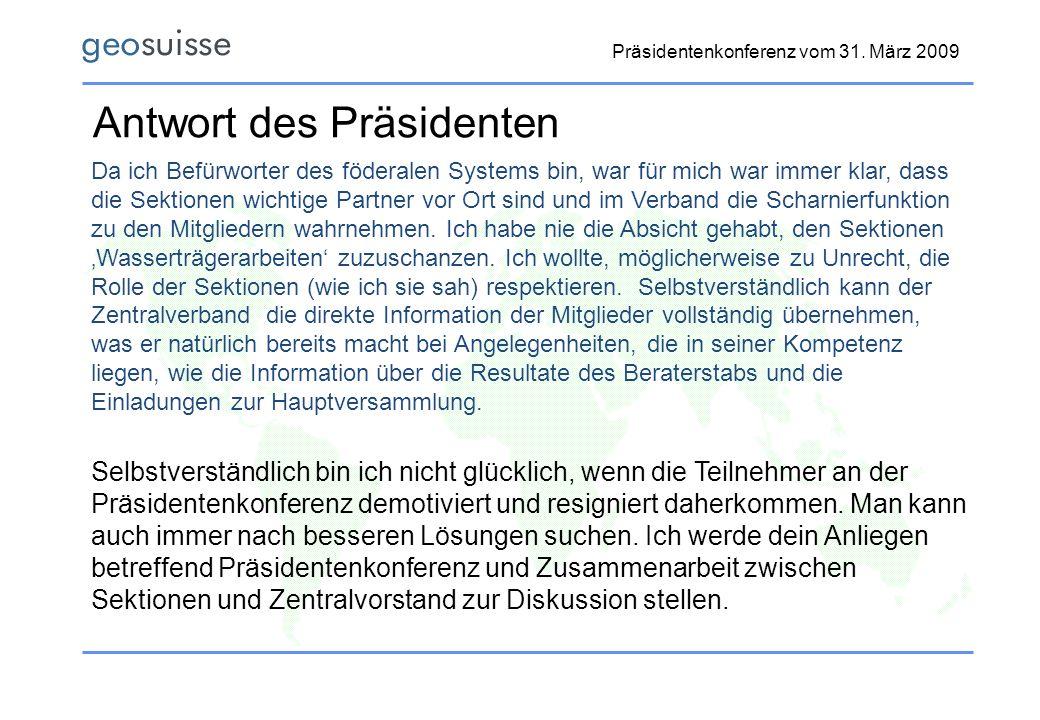 Antwort des Präsidenten