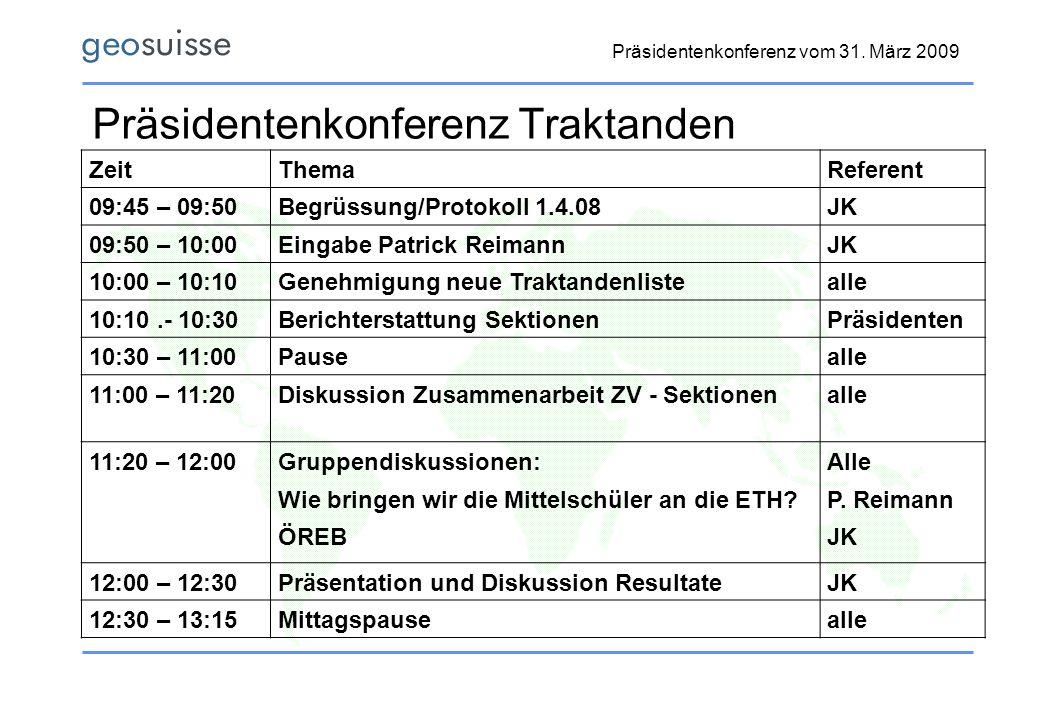 Präsidentenkonferenz Traktanden