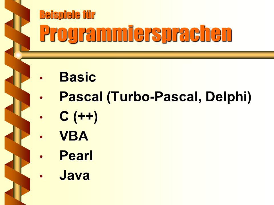 Beispiele für Programmiersprachen