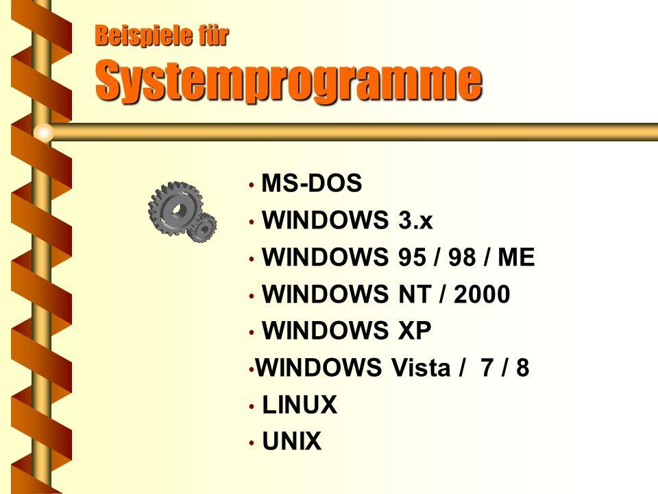 Beispiele für Systemprogramme