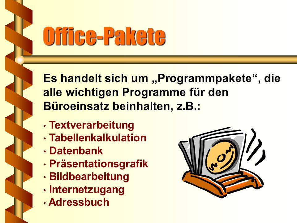 """Office-Pakete Es handelt sich um """"Programmpakete , die alle wichtigen Programme für den Büroeinsatz beinhalten, z.B.:"""