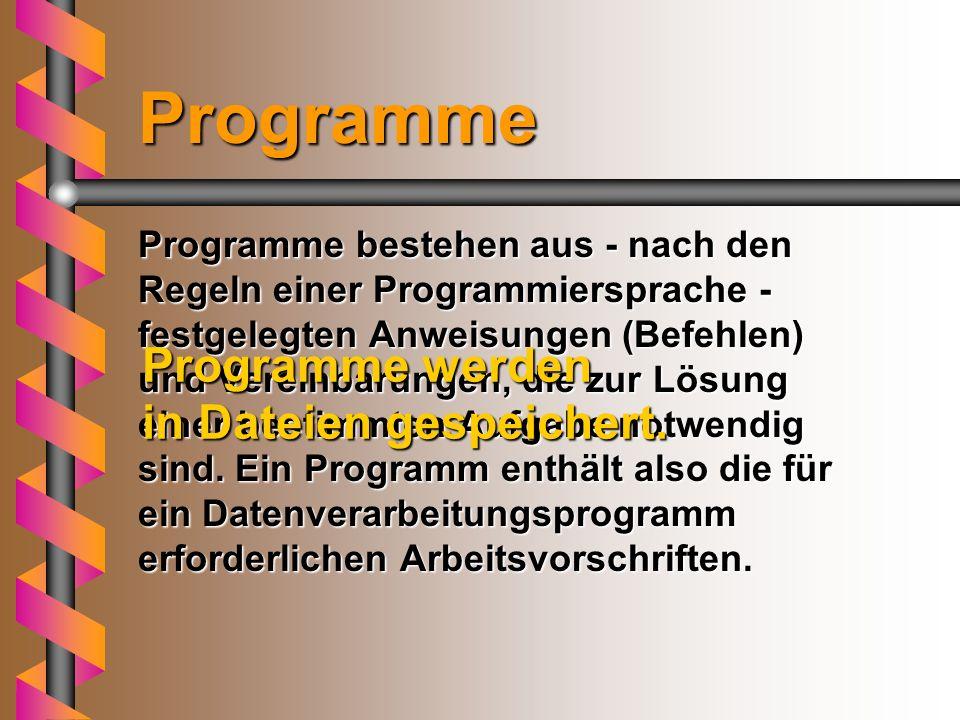 Programme Programme werden in Dateien gespeichert.