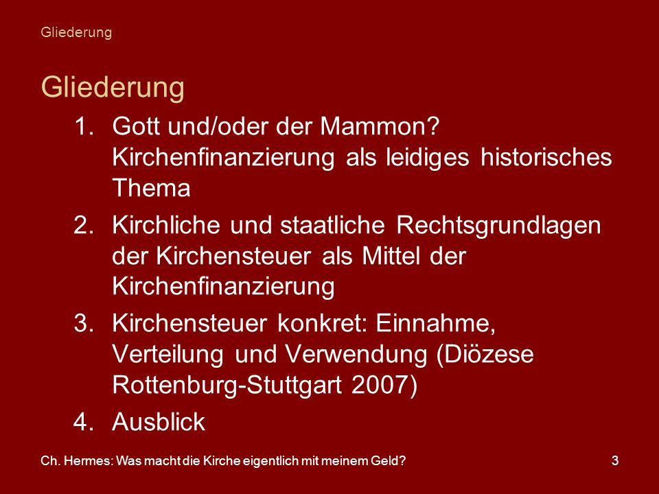 Gliederung Gliederung. Gott und/oder der Mammon Kirchenfinanzierung als leidiges historisches Thema.