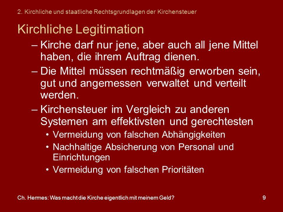 2. Kirchliche und staatliche Rechtsgrundlagen der Kirchensteuer