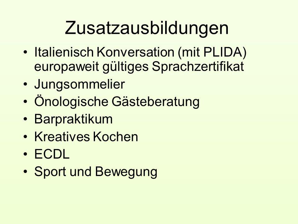 Zusatzausbildungen Italienisch Konversation (mit PLIDA) europaweit gültiges Sprachzertifikat. Jungsommelier.