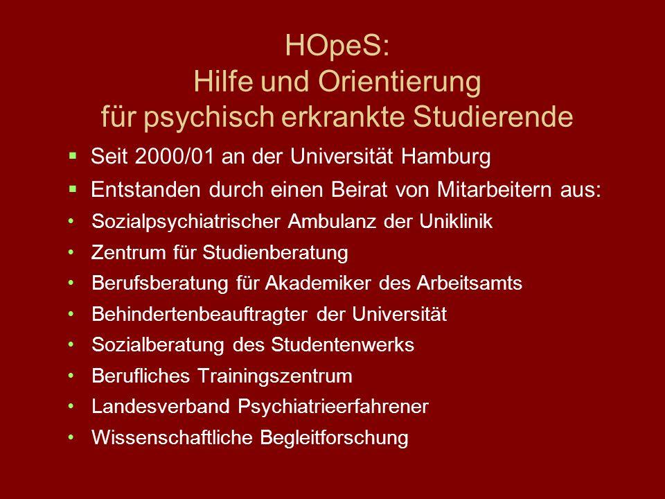 HOpeS: Hilfe und Orientierung für psychisch erkrankte Studierende