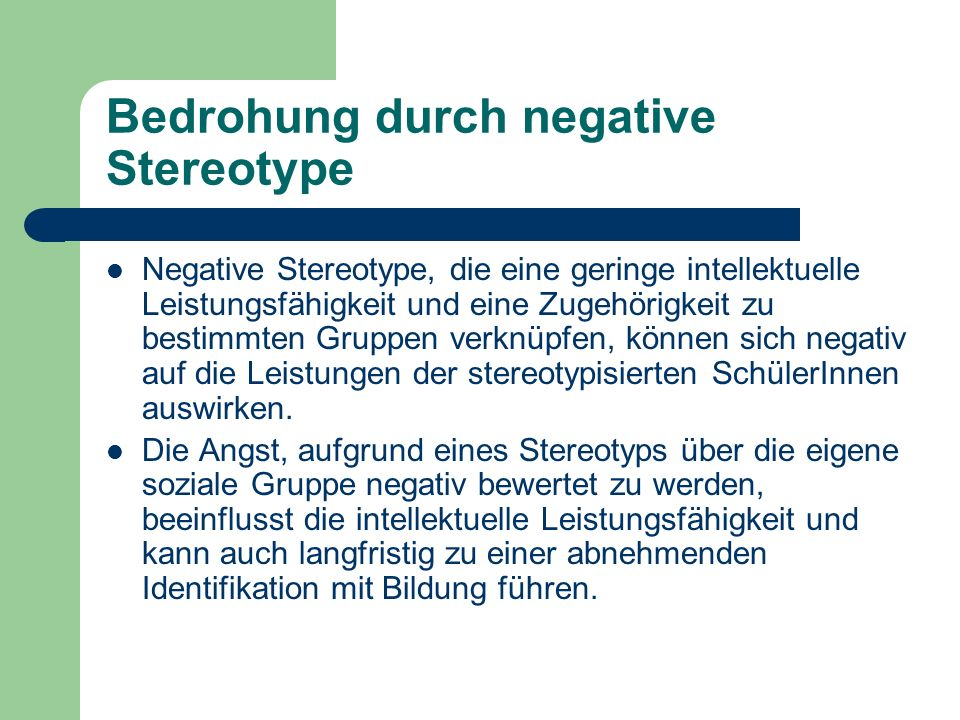 Bedrohung durch negative Stereotype