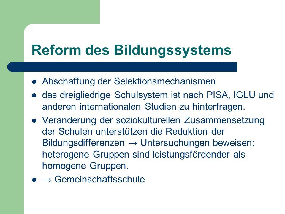Reform des Bildungssystems