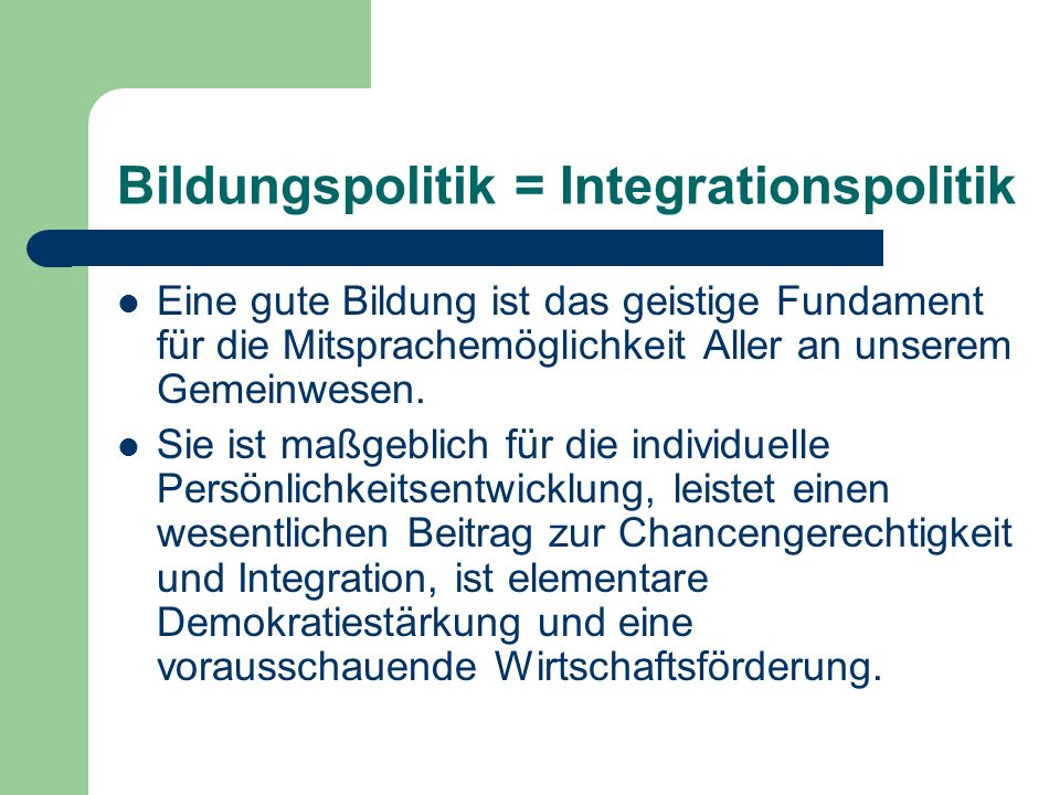 Bildungspolitik = Integrationspolitik