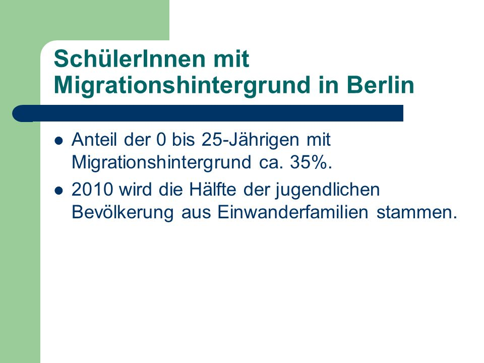 SchülerInnen mit Migrationshintergrund in Berlin