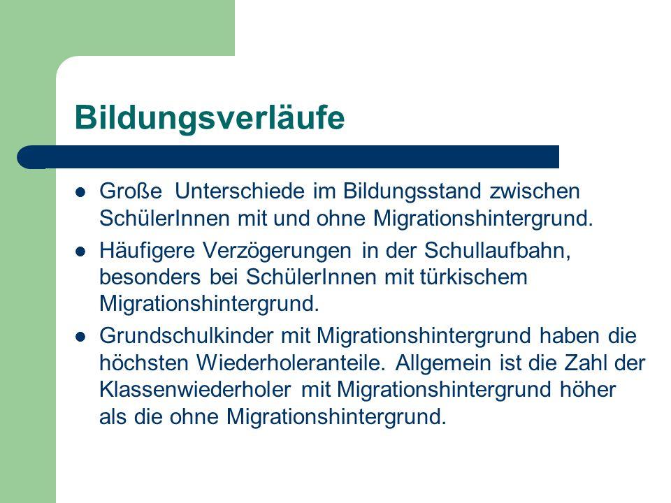 Bildungsverläufe Große Unterschiede im Bildungsstand zwischen SchülerInnen mit und ohne Migrationshintergrund.