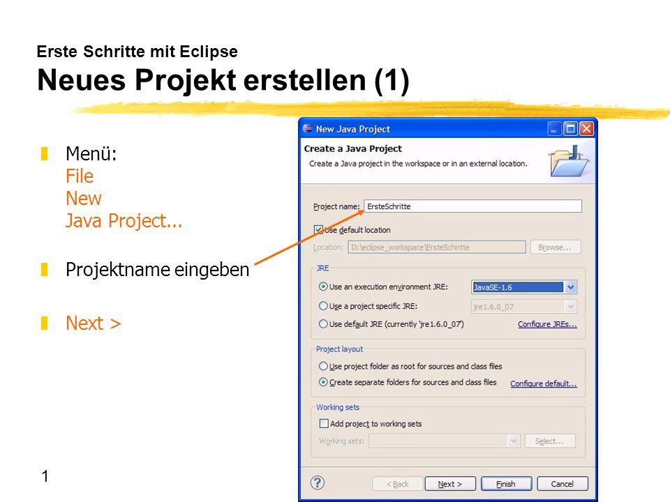 Erste Schritte mit Eclipse Neues Projekt erstellen (1)