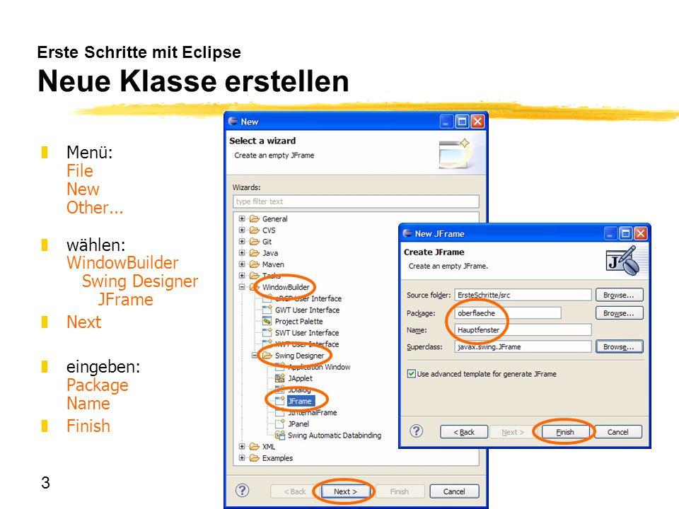 Erste Schritte mit Eclipse Neue Klasse erstellen