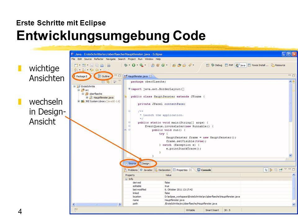 Erste Schritte mit Eclipse Entwicklungsumgebung Code