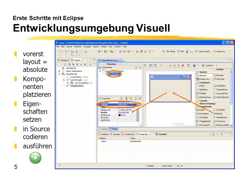 Erste Schritte mit Eclipse Entwicklungsumgebung Visuell